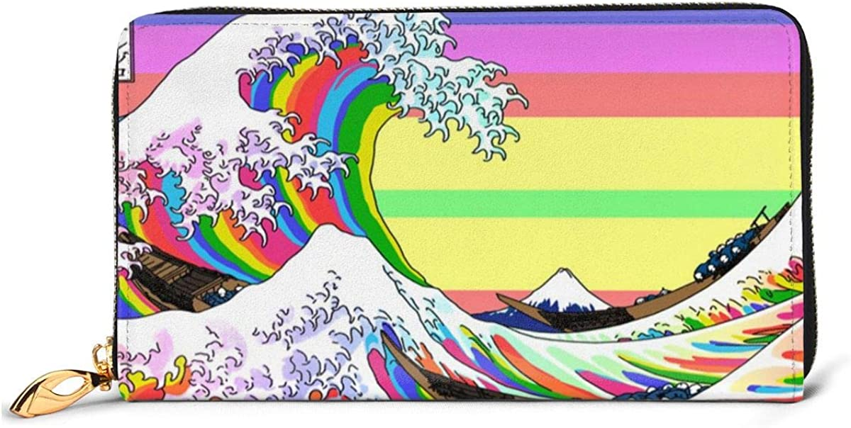 The Great Wave Off Kanagawa Wallets For Men Women Long Leather Checkbook Card Holder Purse Zipper Buckle Elegant Clutch Ladies Coin Purse