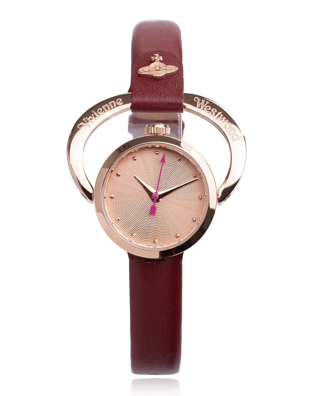 Vivienne Westwood Damen-Armbanduhr Horseshoe Analog Quarz Leder VV082RSRD