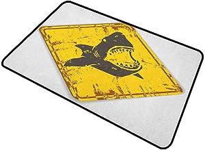 """shirlyhome Doormat Outdoor Shark for Front Door Caution Shark Sign Sharp Teeth Animal Ocean Danger Do Not Swim Illustration 30""""x40"""" Earth Yellow Grey"""