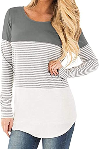 Tymhgt Womens Color Block Top Crew Neck Casual Basic Slim Long Sleeves T-Shirt