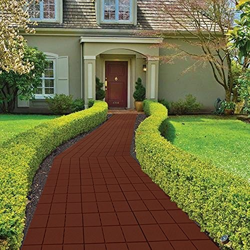 Imperial Home Interlocking Deck Tile Patio Pavers, 11 x 11 Easy Set Up Outdoor Walkway Pavers (Set of 12) (Mocha Color)