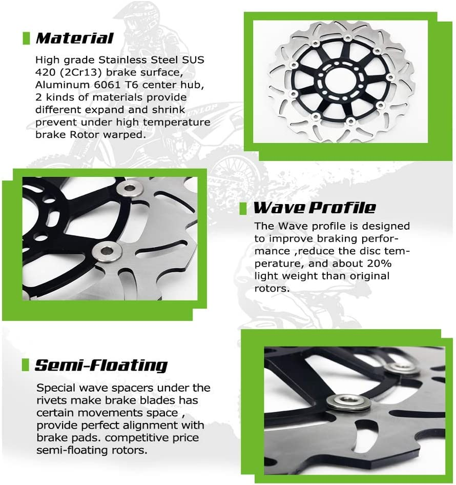 TARAZON Lot de 2 Disques de Frein Avant Moto pour Kawasaki ZX6RR NINJA 600 K1 M1// ZX6R NINJA 636 B1-B2 2003 2004