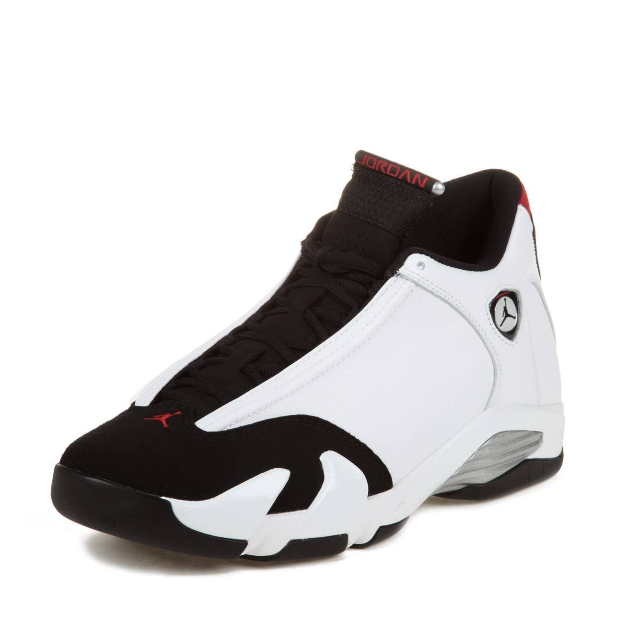 b224a7d10967c3 Galleon - Nike Mens Air Jordan 14 Retro Black Toe White Black Varsity Red  Leather Athletic Sneakers Size 10