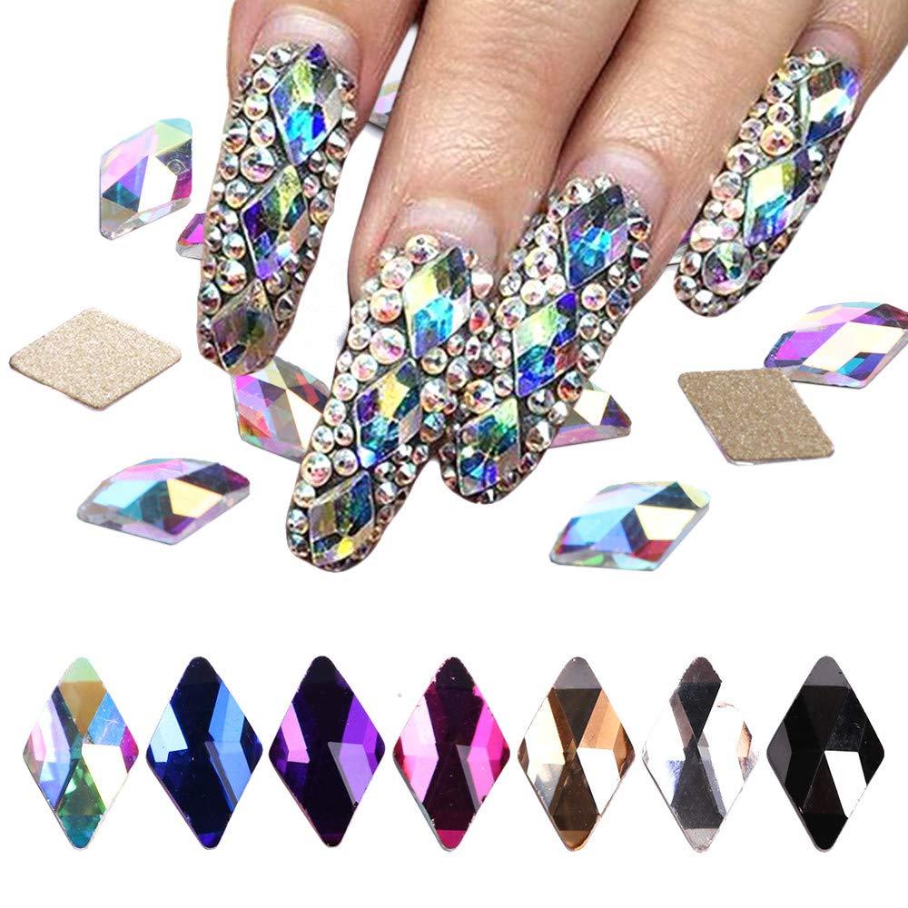 70Pcs Diamond Crystal Nail Rhinestone Gemstone Pearl 3D Nail Art Mobile Sewing Multicolor AB Crystal Bead Flash DIY by TKI-S