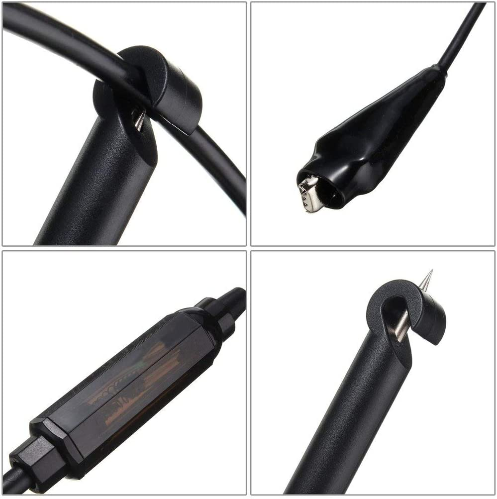 Asdomo Probe Test Light Pencil Auto Car Truck Wire Piercing Cord Voltage Circuit Tester DC 6V//12V//24V Hook Probe Test Light Pencil with Light Indicator Auto Electrical System Diagnosis Test Device