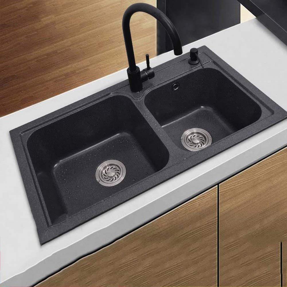 Amazon.com: Wisdom Quartz Stone Sink Double Bowl Sink ...