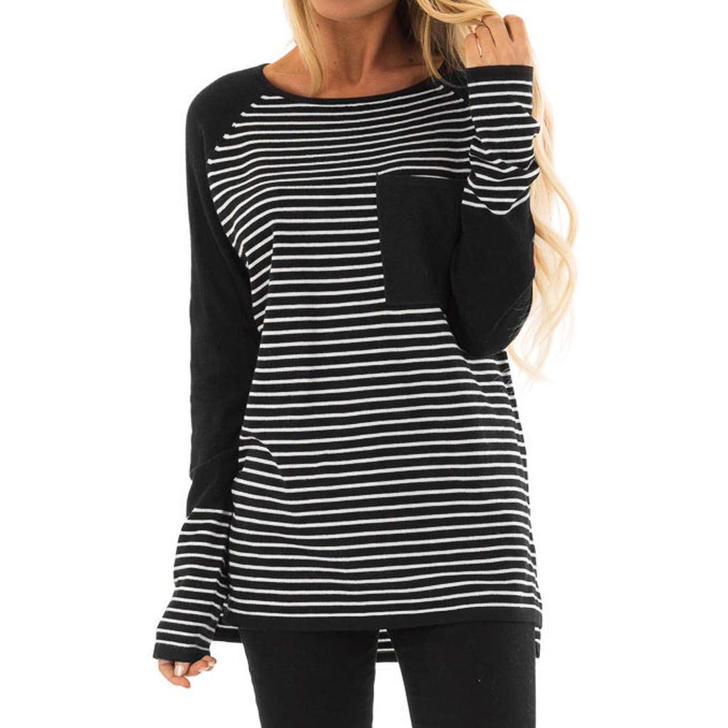 Women Tunics Top,Ladies Stripe Poacket Blouse Casual Long Sleeve T-Shirts Loose Sweatshirts Camis Polos Camisole Black