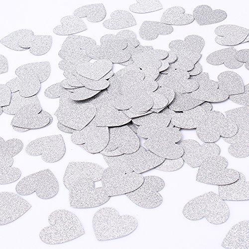 MOWO Glitter Heart Paper Confetti Circles Wedding Party Decor and Table Decor 1.2'' in Diameter (Silver Glitter,200pc) ()