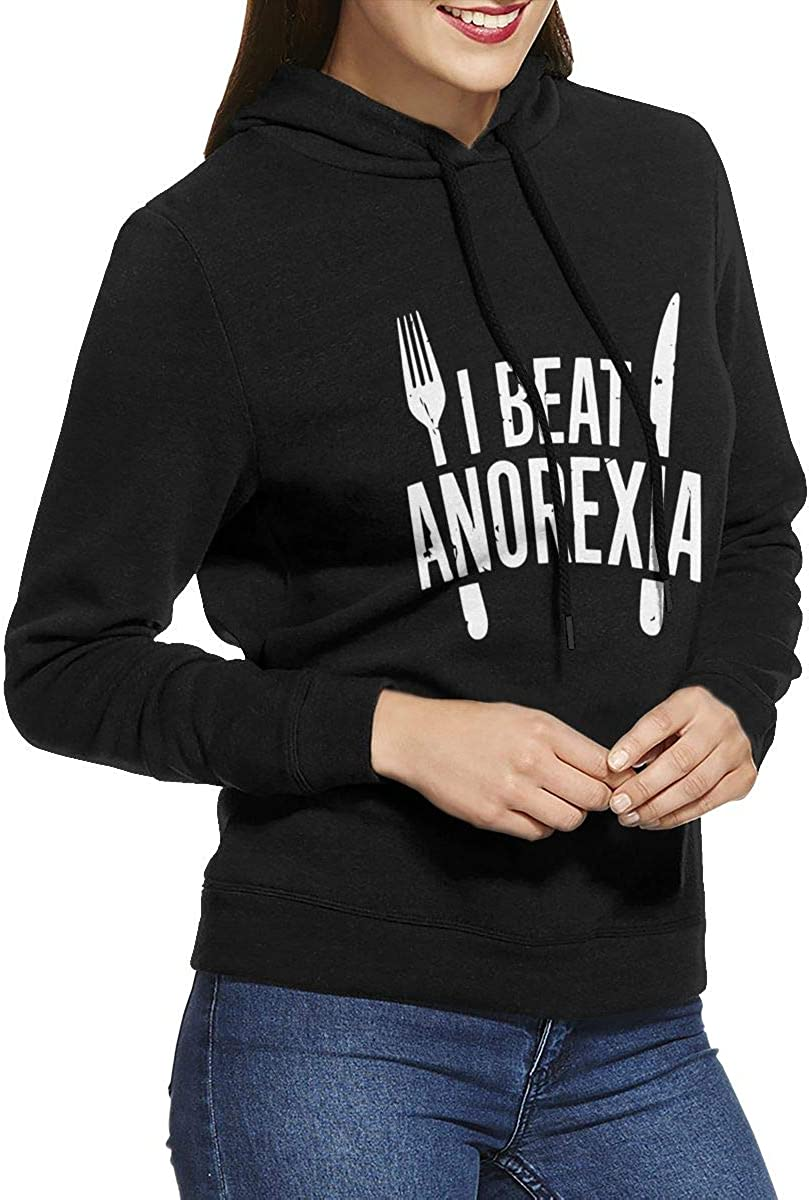 I Beat Anorexia Womens Pullover Hoodie Long Sleeve Hooded Sweatshirts