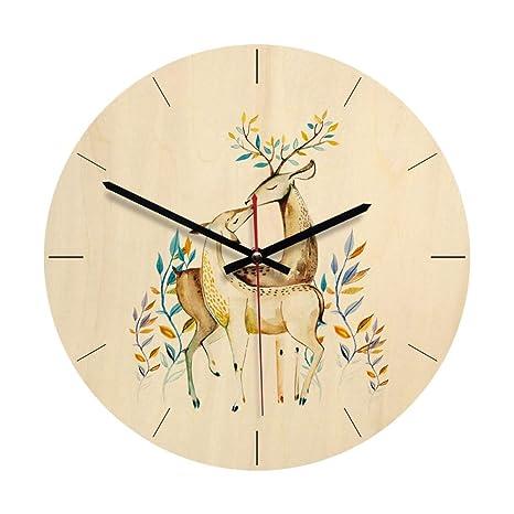 Amazon Com Vorcool Wooden Wall Clock Round Deer Fashion Wall Watch