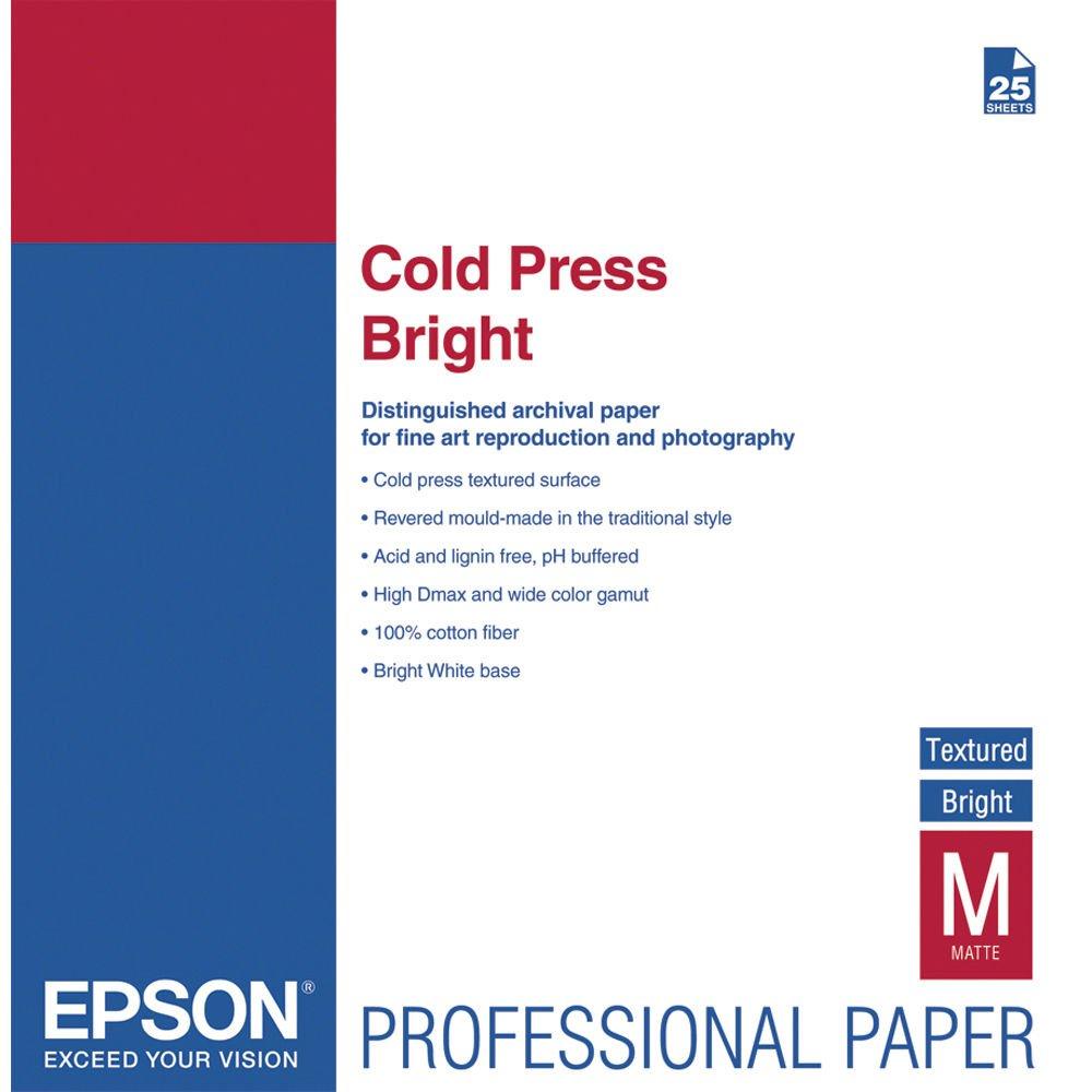 Epson Cold Press Bright Matte Inkjet Photo Paper 17'' x 22'' 25 Sheets S042311