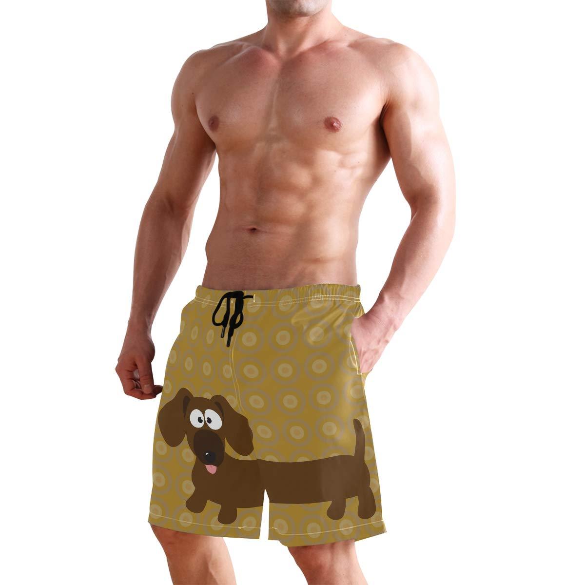 DEYYA Mens Dachshund Hot Dog Summer Beach Shorts Pants Swim Trunks Board Short for Men
