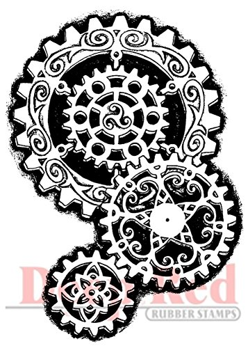 Deep Red Stamps Steampunk Gears Rubber (Steampunk Acrylic)
