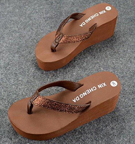 Bettyhome Donne Ragazze Sexy Brillanti Perizoma Infradito Cunei Casual Sandali Da Spiaggia Infradito Pantofole Marrone