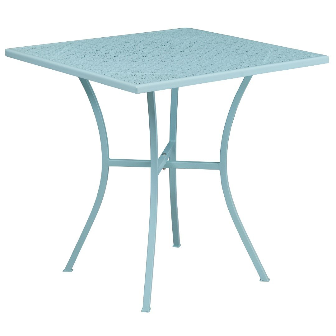MFO 28'' Square Sky Blue Indoor-Outdoor Steel Patio Table