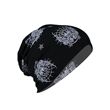 e13e4a04121 RICKYY Men s Beanies Cotton Blended Slouchy Summer Skull Free Size Black Beanie  Cap for Men Women