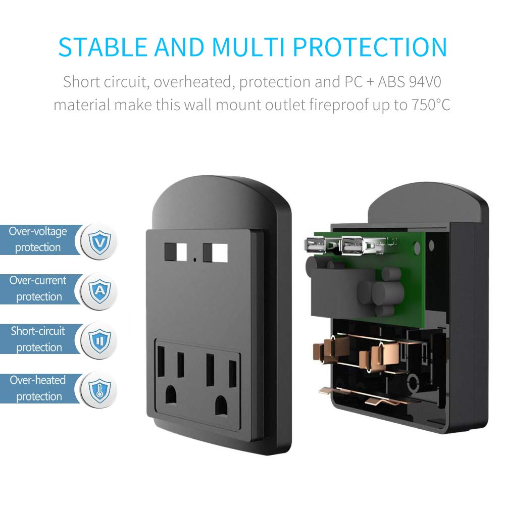 Multi Wall Outlet USB Wall Charger with Phone Holder Outlet Extender Surge Protector with Dual Outlets and Dual USB Ports (Black)