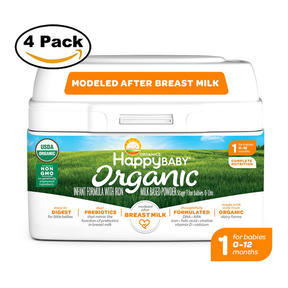 Happy Baby Organic Infant Formula Milk Based Powder with Iron, Stage 1, 21 Ounces, 4 Count (Packaging May Vary)