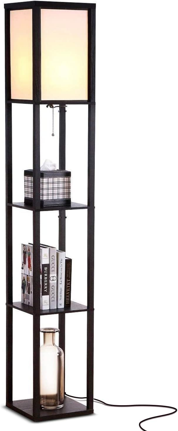 Brightech Maxwell - Modern LED Shelf Floor Lamp - Skinny End Table & Nightstand for Bedroom - Combo Narrow Side Table with Standing Accent Light Attached - Asian Tower Book Shelves - Black - -