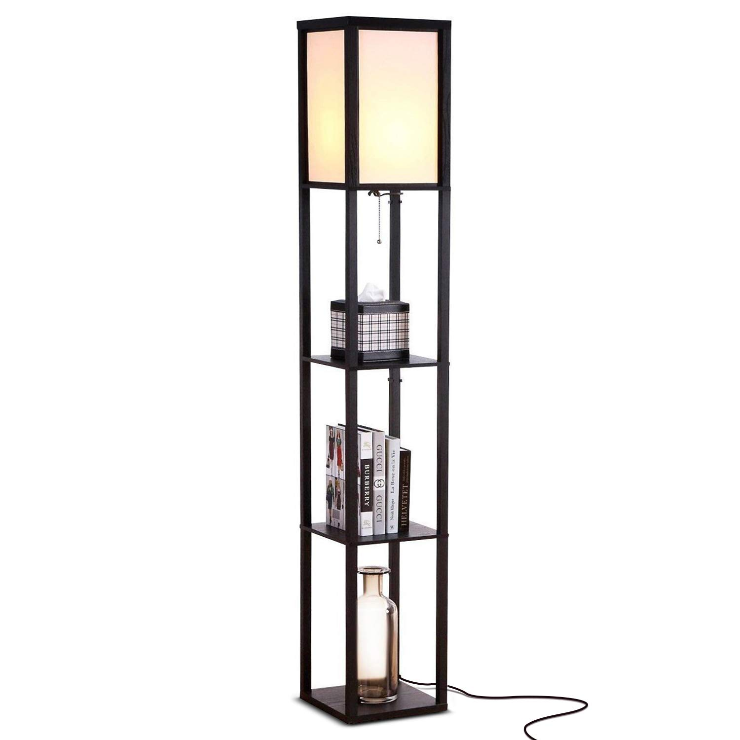 Brightech Maxwell - LED Shelf Floor Lamp - Modern Standing Light for Living Rooms & Bedrooms - Asian Wooden Frame with Open Box Display Shelves - Black by Brightech