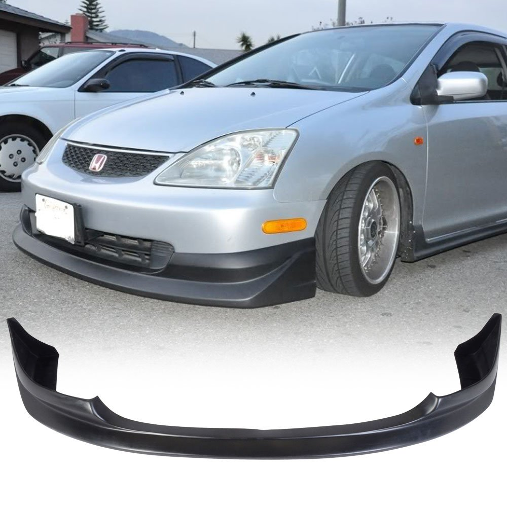 AW Style Black PU Front Lip Finisher Under Chin Spoiler Add On by IKON MOTORSPORTS 2004 Front Bumper Lip Compatible With 2003-2005 Honda Civic