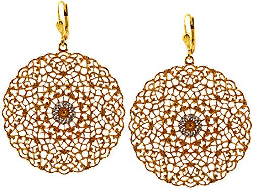 Cut Out Round Earrings (La Vie Parisienne Gold Plated Round Cutout Filigree Dangle Earrings with Swarovski Crystal)
