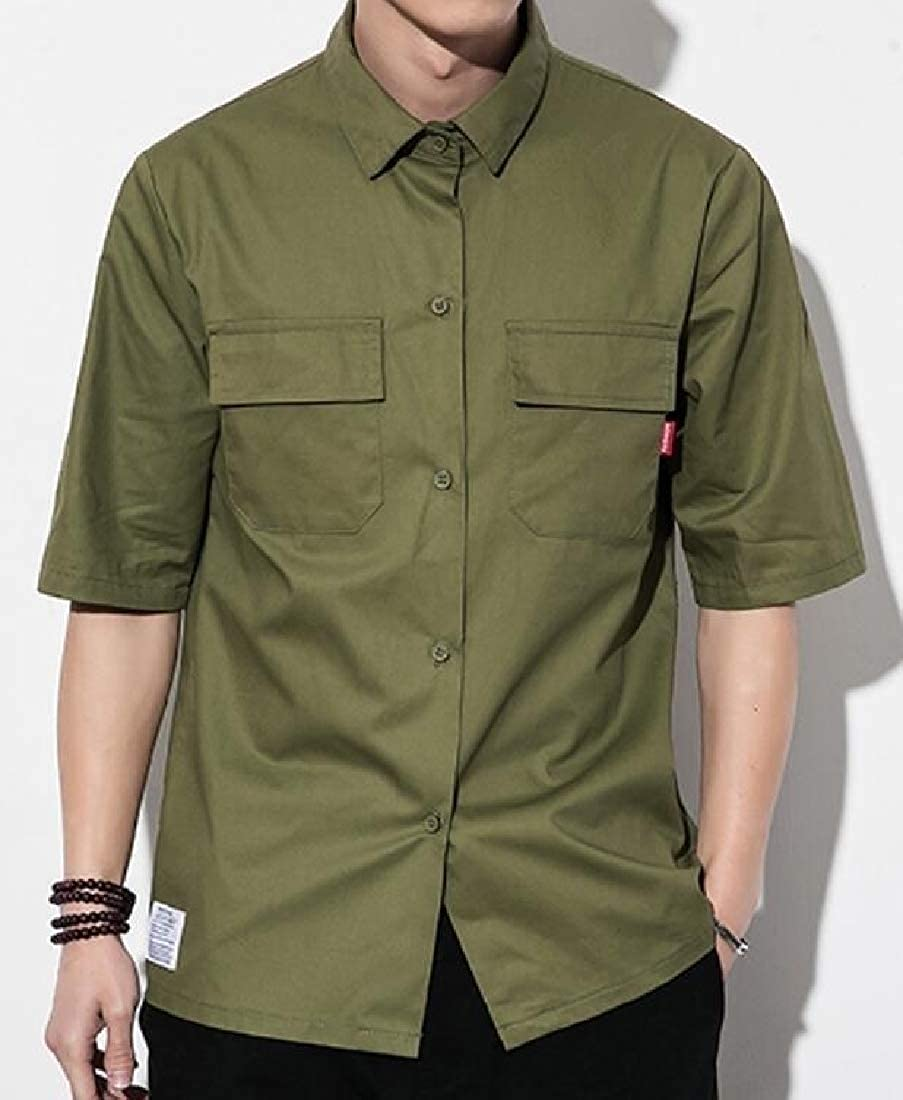 Shirts Xswsy XG Mens Casual Solid Multi-Pockets Military Button ...