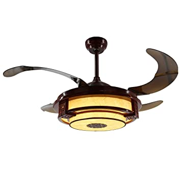 Parrot Uncle LED Ceiling Fans With Remote Control Red Wooden Fan Lights 4 Retractable Blades