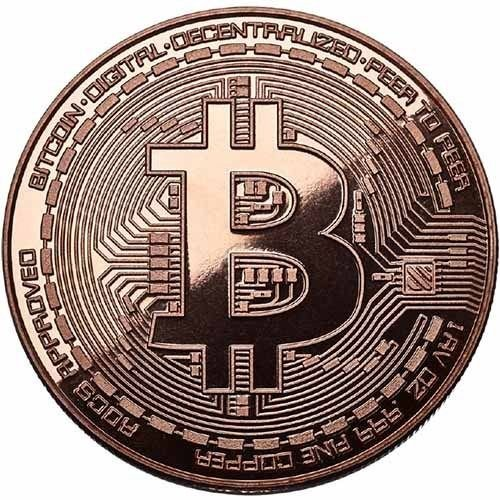 Bitcoin Coin Copper Plated Physical Cryptocurrency Collectible Good Luck Token With Protective Case Included (COPPER)