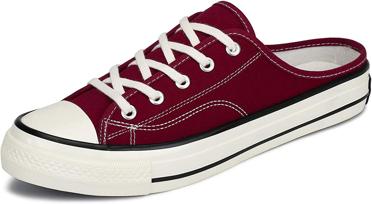 Mishansha Women's Canvas Shoes Men Casual Low Top Fashion Sneaker Lace Up Flats Slippers for Walking Red 10 Women/8 Men