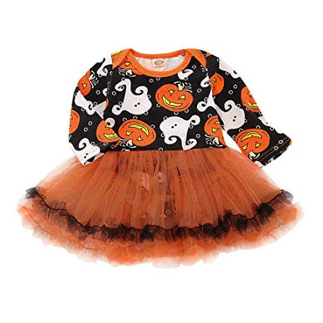 JAGENIE Disfraces de Halloween, Baby Girls Halloween Pumpkin Ghost ...