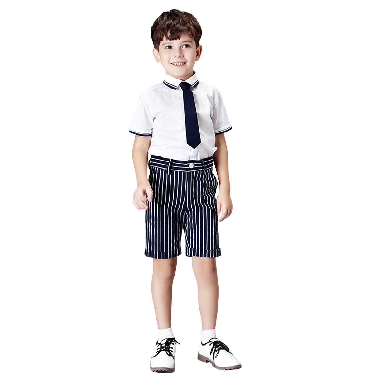 Kanodan Kids Boy Gentleman Short Outfits Formal Wedding Wear, Shirt + Pants +Tie (White, 11-12Years)