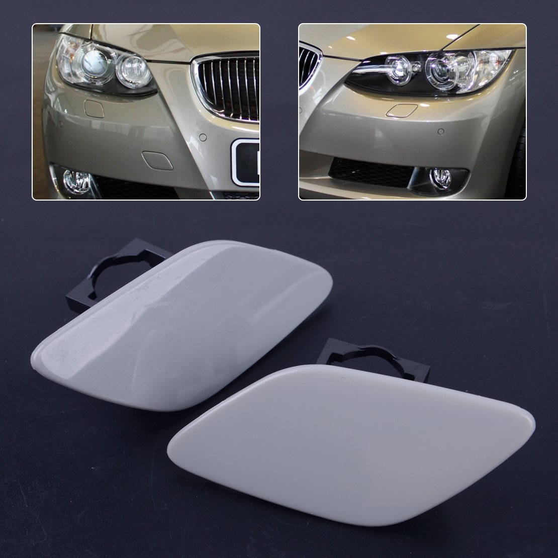 beler 1 Pair Headlight Washer Cover Cap Lamp Flap Bumper Trim Fit For BMW 3 Series E92 E93