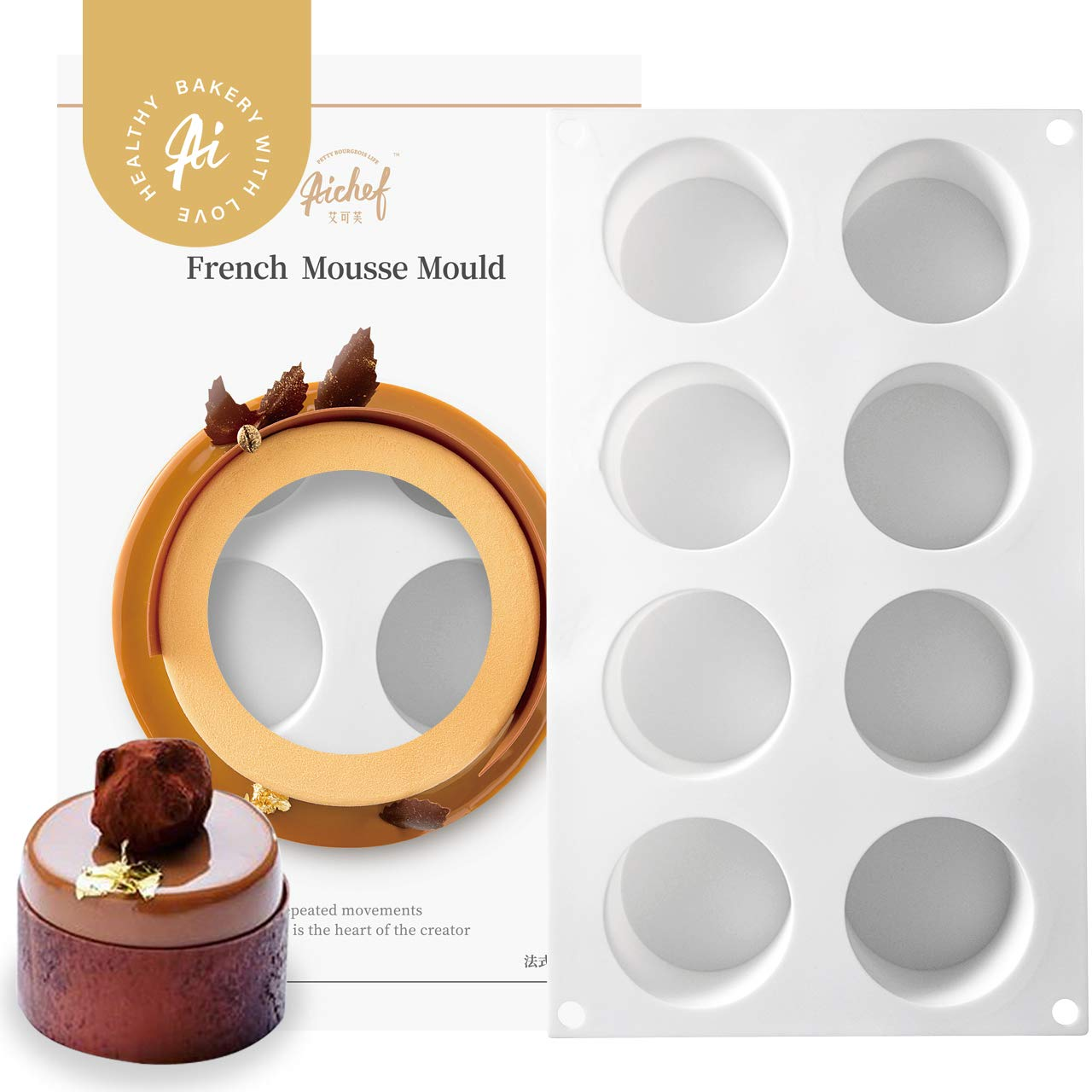 AiChef Silicone Mold for Baking High Cylinder Mold Chocolate Mousse Cake Dessert Molds,6-Cavity by AICHEF