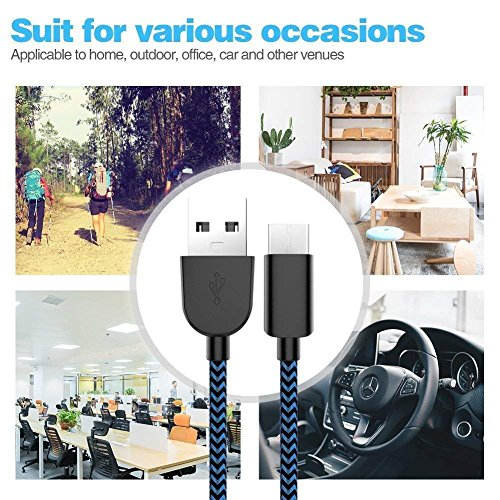 TNSO USB Type C Nylon Braided USB A to USB C Charger Cable Fast Charging Cord for Samsung Galaxy Note 8 S8 Plus, LG G5 G6 V30, HTC 10, Nexus 5X/6P-Black&White (black&blue) by TNSO (Image #2)