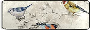 Anti Fatigue Comfort Runner Rug Birds and Flowers Indoor Rug - Non Slip, Stain Resistant, Easy Clean - for Kitchen Laundry Bathroom Doorway, 72''x24''