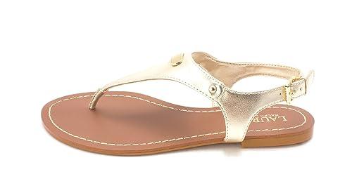 LAUREN by Ralph Lauren Womens patsi Open Toe Casual Slide Gold Size 60