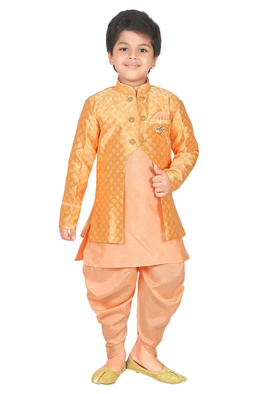 ahhaaaa Kids Ethnic wear Waistcoat, Indo Western Sherwani and Dhoti Pant for Boys_LORNG424-5