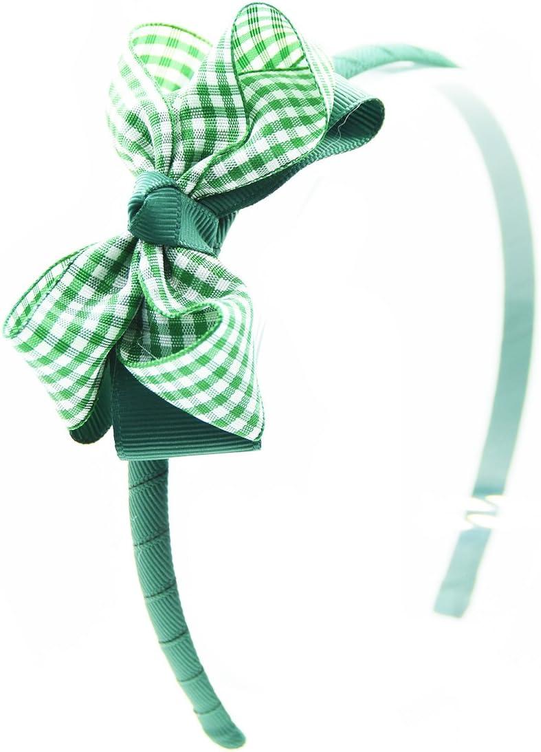 "PAIR HANDMADE 3.5/"" GREEN GINGHAM SCHOOL HAIR RIBBON BOWS GIRL ALLIGATOR CLIPS"