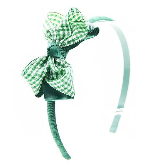 Green Satin Girls Hairband Headband Alice Band Green Flower School Uniform
