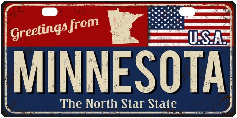 12 x 6 Inch Metal Auto Tag for Woman Man INTERESTPRINT Greetings from West Virginia Rusty Metal Sign with USA Flag Metal License Plate for Car