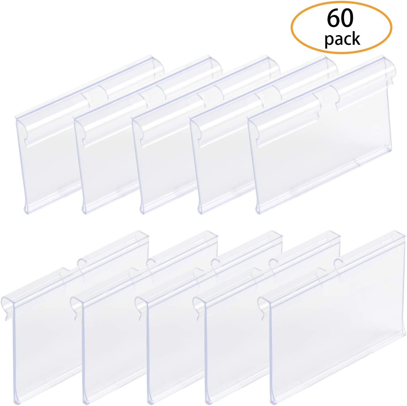 SBYURE 60 PCS Clear Plastic Label Holder for Wire Shelf Retail Price Label Holders Merchandise Sign Display Holder (6cm x 4cm)