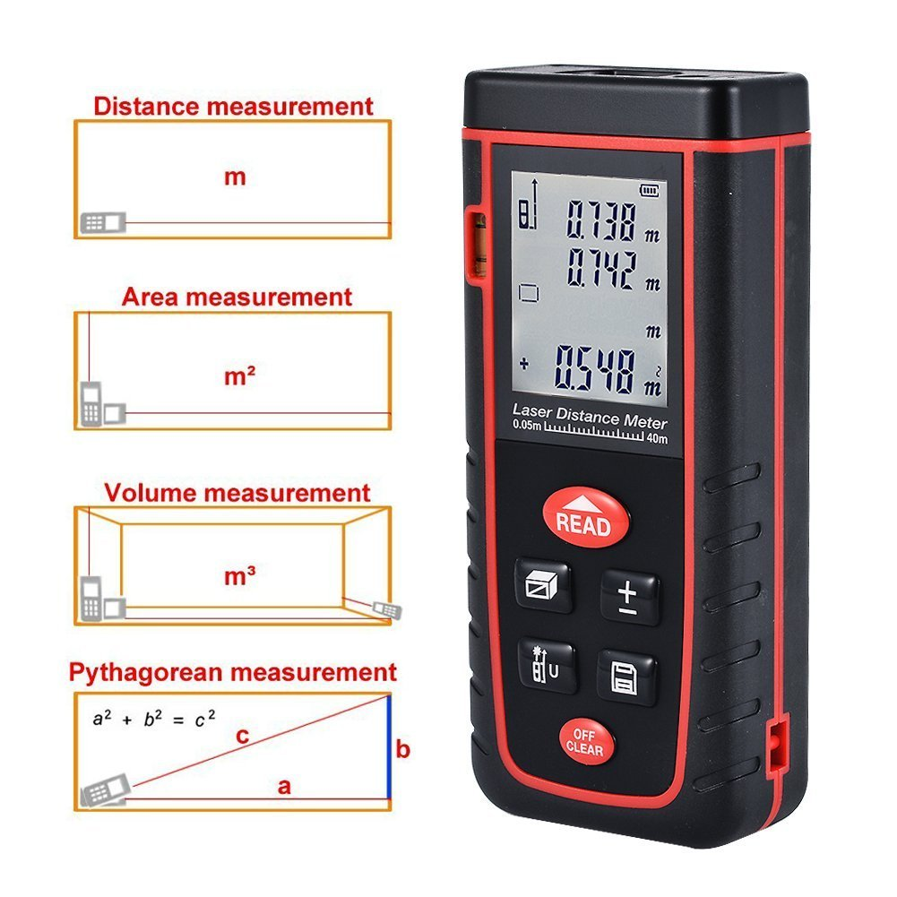 TopOne Digital Laser Distance Meter Rangefinder Measuring Tester Layout Tool with LCD Backlight Display (S40M) by TopOne (Image #5)