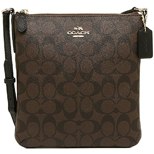 Coach CC Signature Brown Black NS Cross Body File Shoulder Bag Purse (BrownBlack)