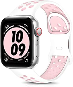 OYODSS Sport Bands Compatible with Apple Watch Band 38mm 40mm 42mm 44mm, Breathable Soft Silicone Replacement Wristband Strap Compatible with iWatch Series 6 5 4 3 2 1 SE Women Men White&Pink