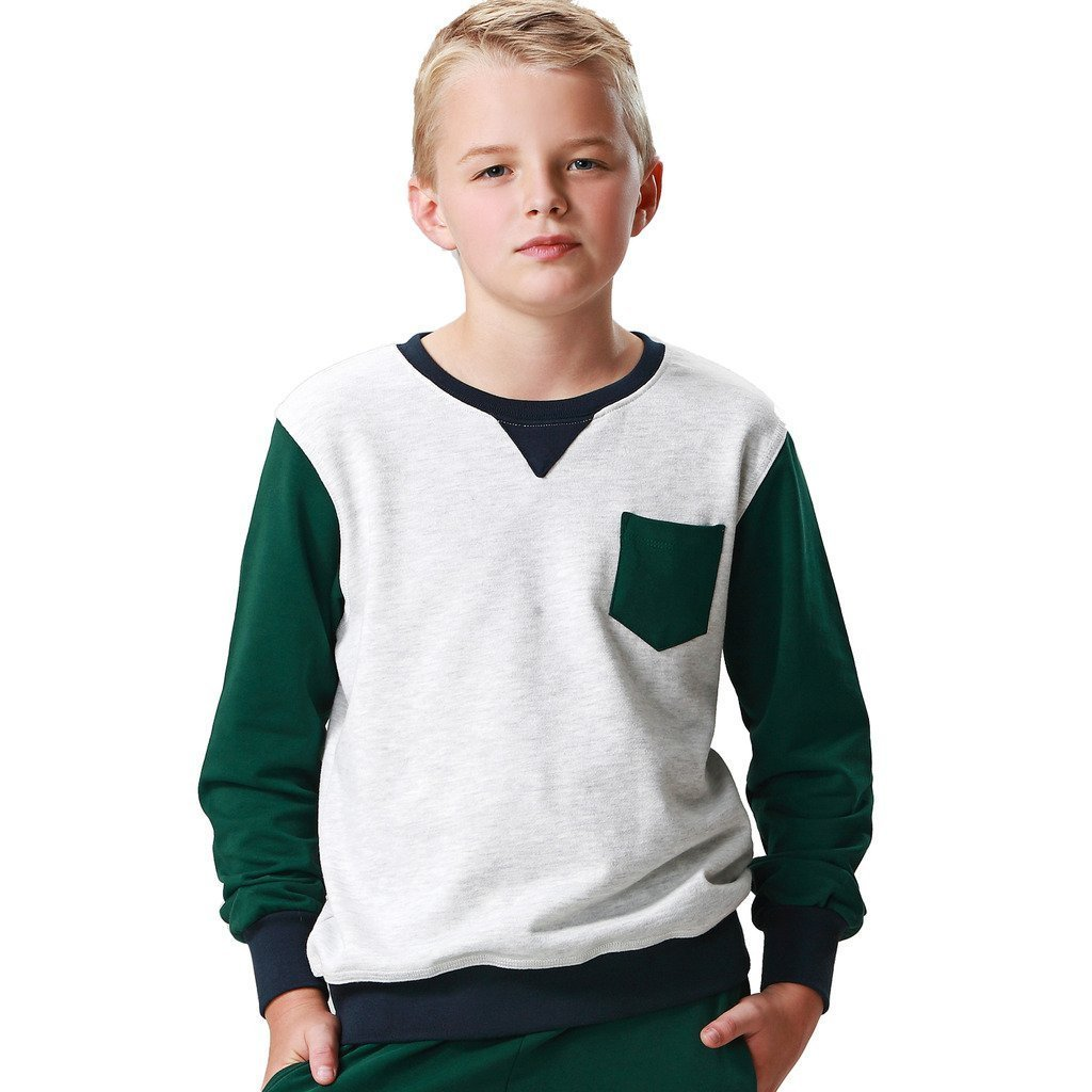 Leo&Lily Boys' Casual Colors Panels Fleece Sweatshirts T-Shirt LLB887-10-Green Light Gray-$P