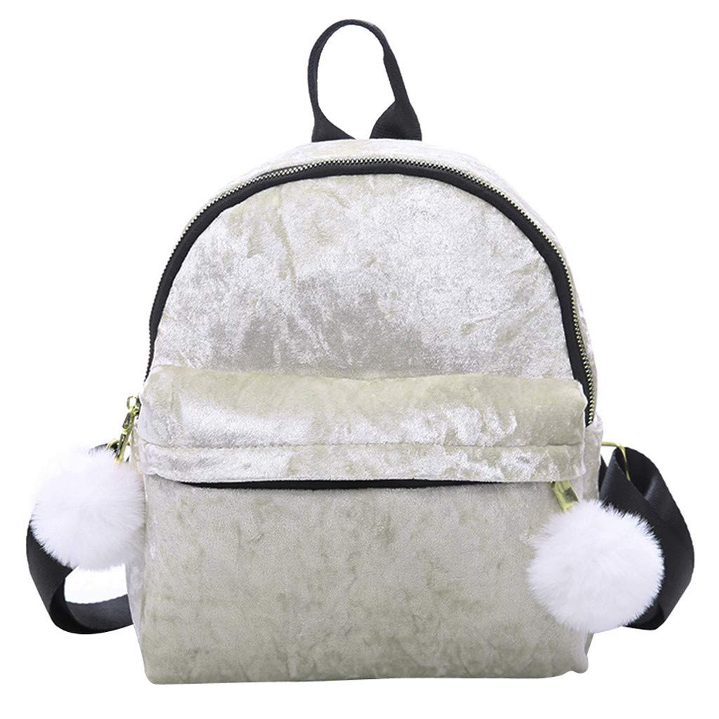 Newest Arrival!! ZOMUSAR Women Girls Fashion Velour Mini Backpack Shoulder Bag Solid Color School Travel Bags With Fur Ball (White) by ZOMUSAR