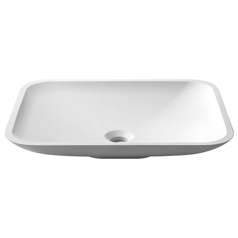 Rectangular 19.7 x 13.8 inch Kraus KSV-2MW Natura Bathroom Sink