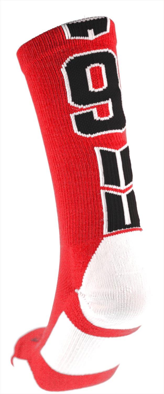 Player ID番号クルーソックス( Single Sock ) – レッド/ブラック B01NCXPOSP#9 Large