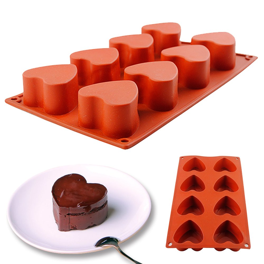 IC ICLOVER 2 PACK 8 - Cavity [Food Grade Silicone] Heart Shape Non-stick Mold for Soap Crayon Candle Bread Chocolate Pudding Jelly Candy